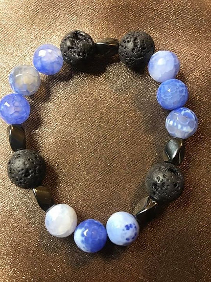 Blue Fire Agate & Twisted Hematite Bracelet