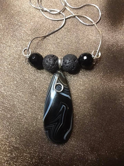 Black Agate w/ wrapped Sterling Silver