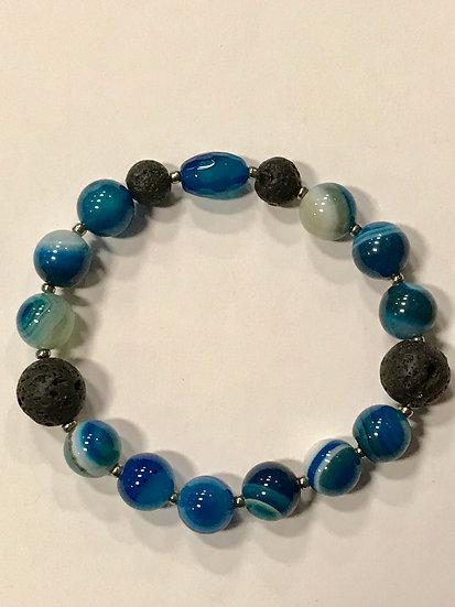 Blue Agate and Lava Bead  Bracelet