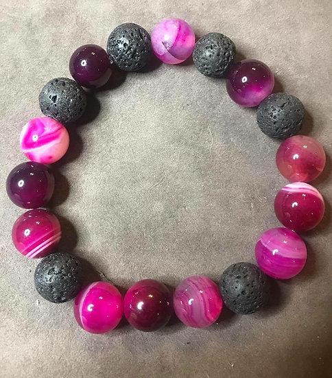 Magenta Agate & Lava Stone Bracelet