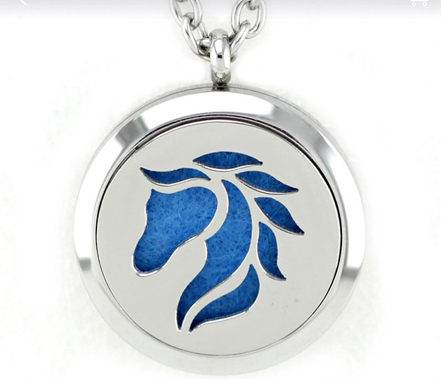 HORSE HEAD ~ 30mm Stainless Steel Locket Diffuser - chain included