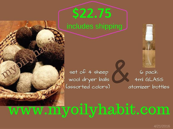 IVORY -- Sheep's Wool Dryer Ball Special Deal with Atomizer