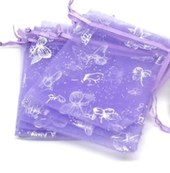 "100 ct Lavender w/ Silver Butterfly Organza Bags  -- 3-1/2"" X 4-1/2"""