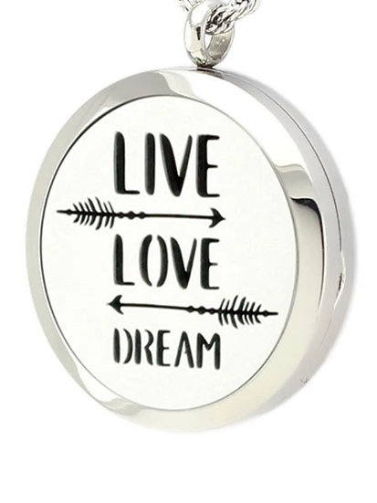 LIVE LOVE DREAM Stainless Steel Locket Diffuser