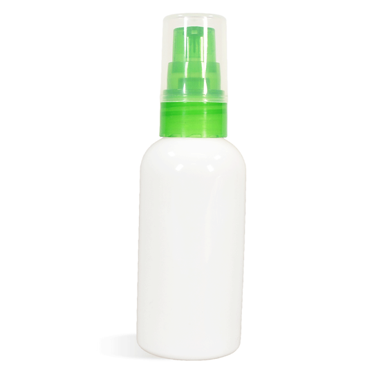 3 oz White PET Plastic Bottle w/  LIME GREEN Serum Pump Top