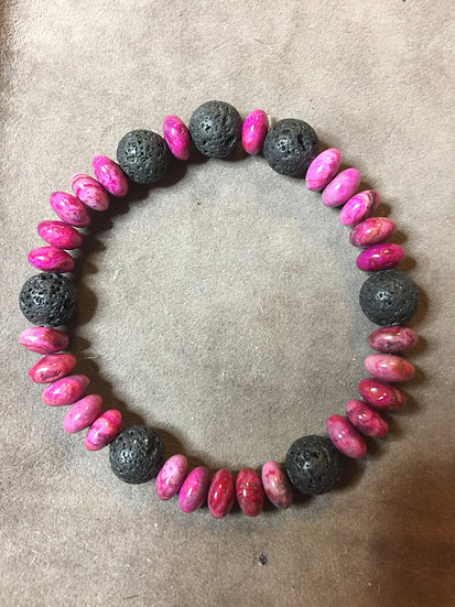 Magenta Crazy Lace beads & Lava stone bracelet