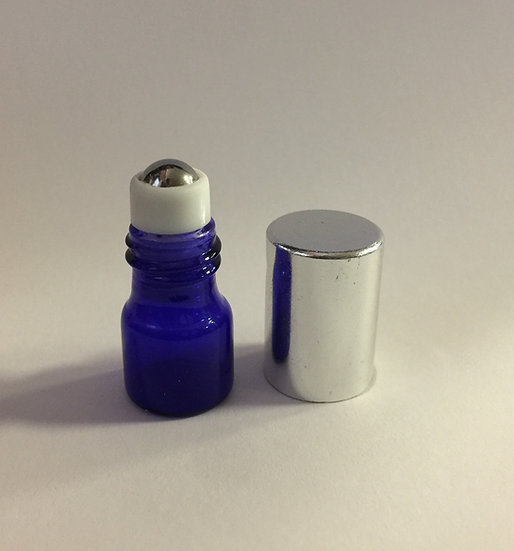 Cobalt Blue Glass 1 ml Roller Bottle w/ Silver Top
