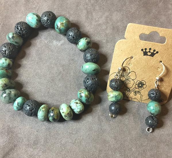 African Jade & Lava Stone 2 PC Set