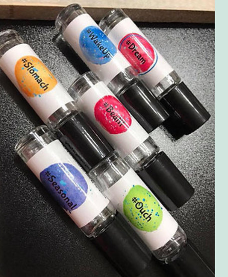 WATERCOLOR HASHTAG  Labels ~ Tin Box w/ 6 each 10 ml Clear Roller Bottles