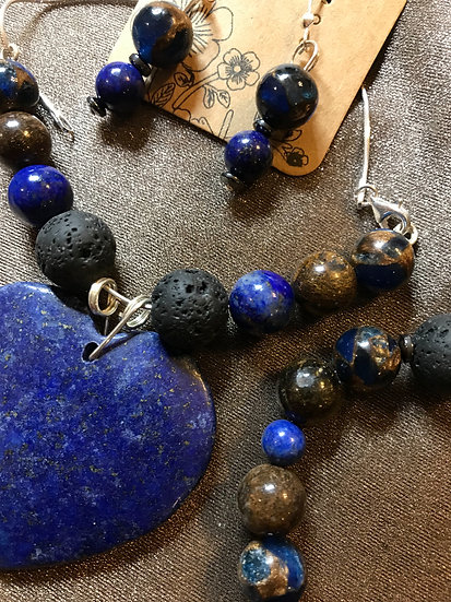 Lazuli Lapis 3 pc Set with sterling Silver and diffuser beads
