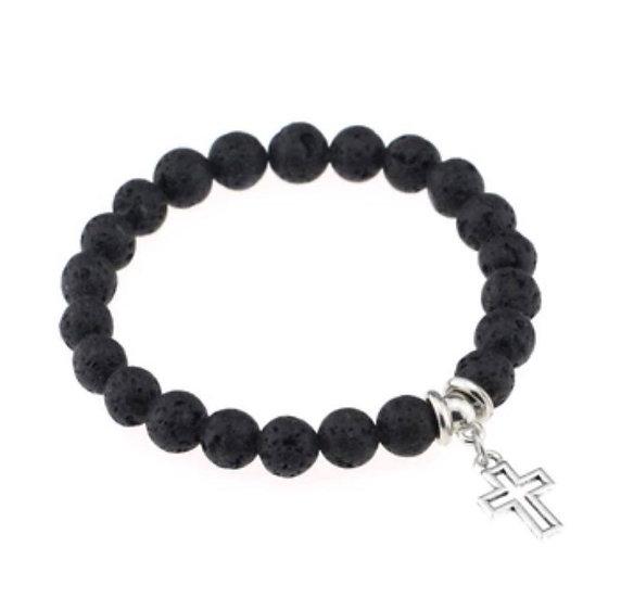 Lava Stone Diffuser Bracelet  Cross