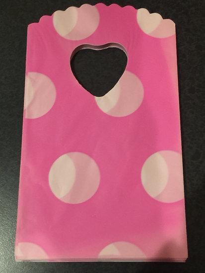 50 ct Mini HOT PINK POLKA DOT  Poly Bags  --  3-1/2 X 5-1/2