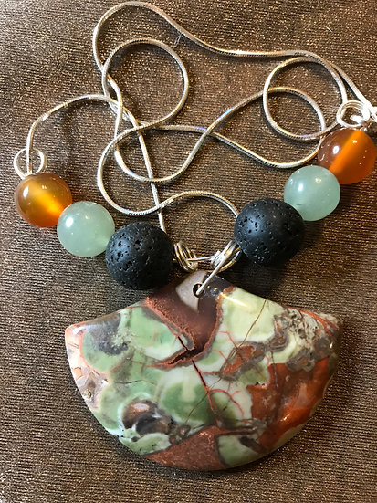 Agate Pendant w/ lava Stone, Green Aventurine and Sterling Silver Chain
