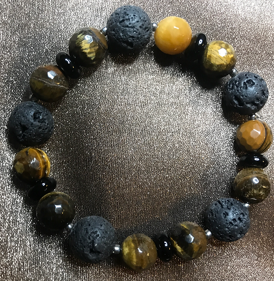 Tiger Eye Bead & Lava Stone Stretch Bracelet