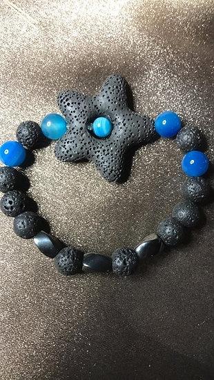 Star, blue agate & Hematite Bracelet