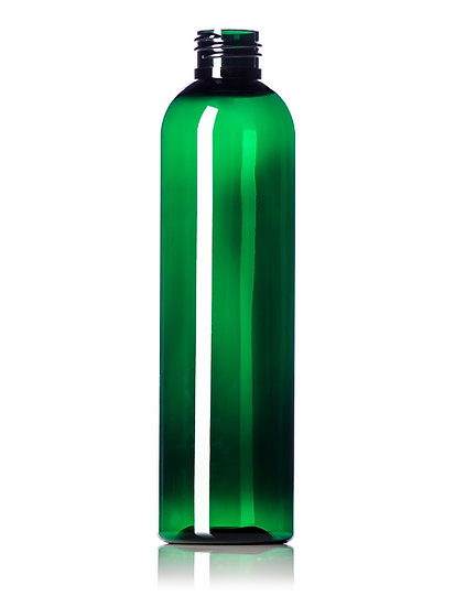 8 oz DARK GREEN PET Plastic Bottle with CLOSURE of your CHOICE