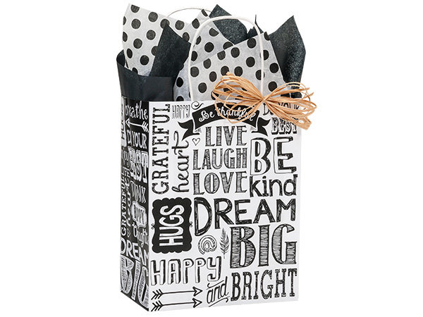 10 count Recycled Paper - USA Made - CHALKBOARD SENTIMENTS Shopper Bag - med -