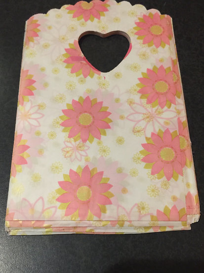 50 ct Mini PINK ART DECO FLORAL Poly Bags  --  3-1/2 X 5-1/2
