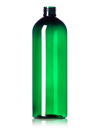16 oz DARK GREEN PET Plastic Bottle with CLOSURE of your CHOICE