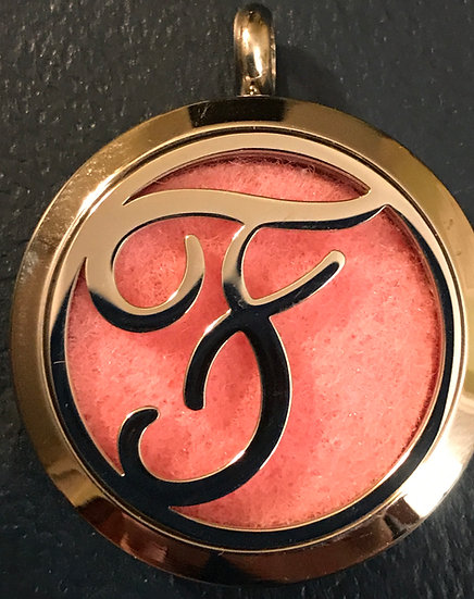 F - Initial Monogram ~ 30mm Stainless Steel Locket Diffuser - chain incl