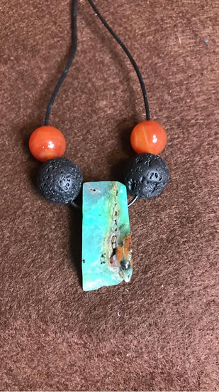 Unisex - Australian Crysolla Jade with Lava Stone Diffuser Pendant