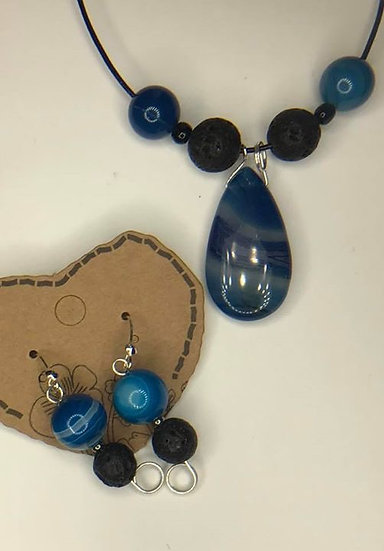 Blue Onyx Agate & Lava Bead Set