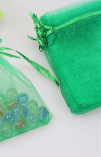 50 ct SPRING GREEN Organza Bags  -- 8 x 11