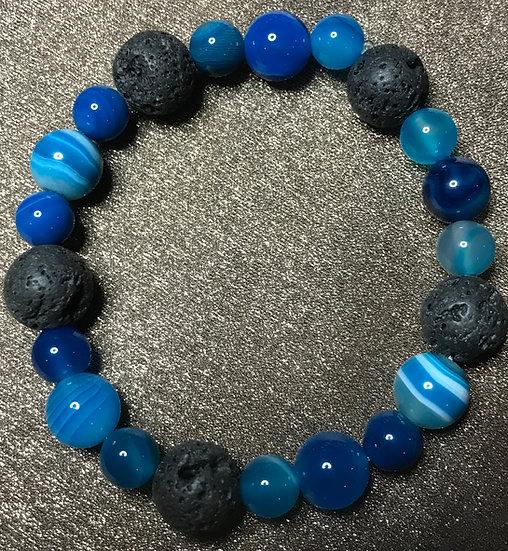Blue agate & lava stone bracelet