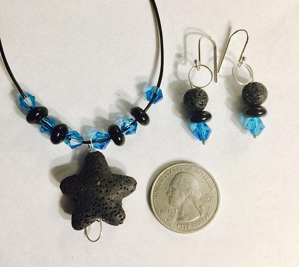 Starfish Lava Stone and Crystal Beads Duo