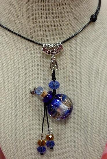 Cobalt Blue Murano Glass Diffuser Necklace #CB2