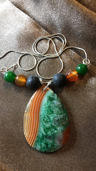 Green / Amber Agate Pendant w/ Lava Beads and Sterling Silver Chain