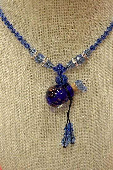 Cobalt Murano Glass Necklace Crystal Beads #CBCB1