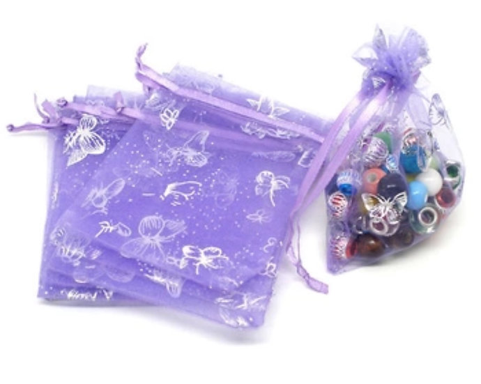 100 ct LAVENDER w/ Silver Butterfly Organza Bags  -- 3-1/2 x 2-3/4