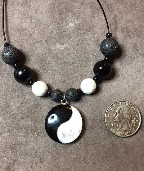Yin Yan black Tourmaline & Lava Bead Pendant
