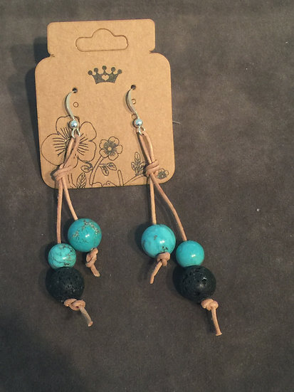 Leather- lava bead & Turquoise earrings