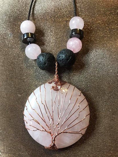 Wire Wrapped Rose Quartz Pendant and Lava Stone Beads
