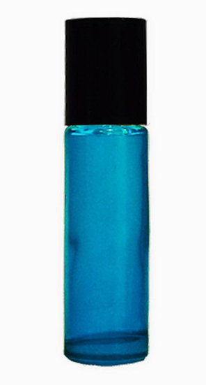 50 Count 10ml TEAL Roller Bottle w/ Plastic Lid & Stainless Steel Roller Ball
