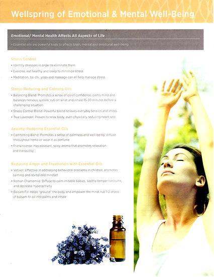 WELLSPRING OF EMOTIONAL & MENTAL WELL-BEING ~ Essential Oils ~  Tear Sheet