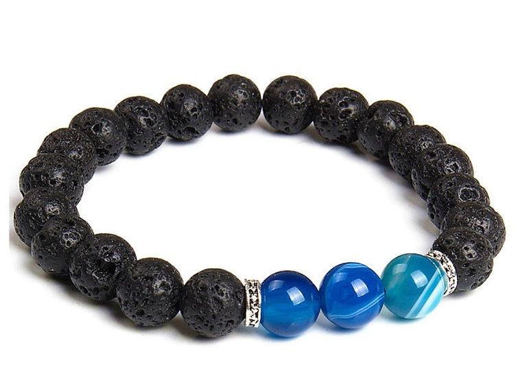 BLUE ~  Chakra Healing Beads & lava stone bracelet