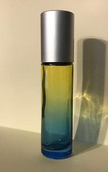1 Count 10ml Blue / Yellow Fade Roller Bottle w/  Lid  ---  (10 ml)