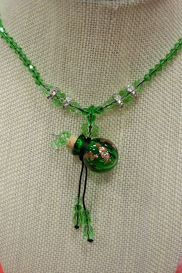 Green Murano Glass Necklace Crystal Beads #GCB1