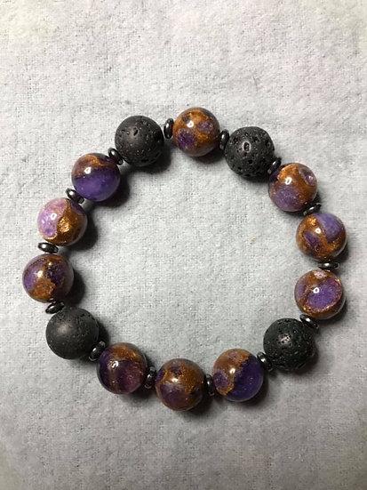 Purple Cloisonne, Hematite and Lava Stone Bead Diffuser Bracelet