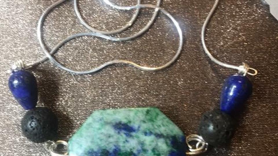 Lazuli Lapis and Lava stone Pendant w/ Sterling Silver Chain