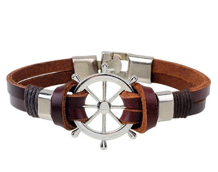 Masculine Ships Wheel dk brown leather bracelet