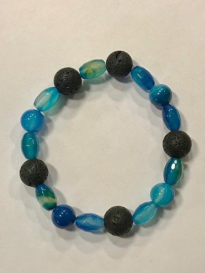 Oblong and Round Blue agate & lava stone bracelet