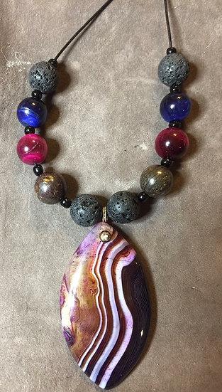 MC Onyx Agate & Lava Stone Pendant