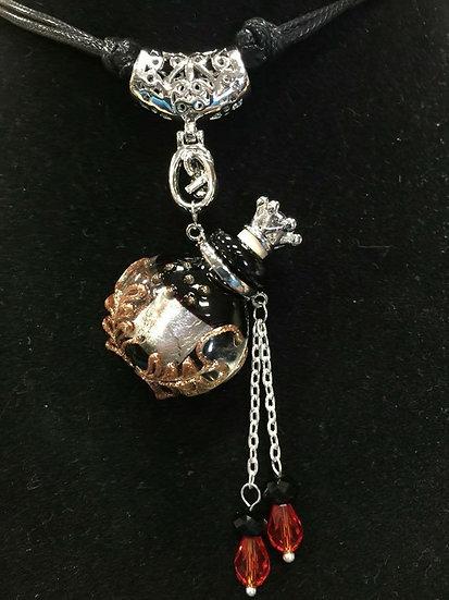 Black Murano Glass Diffuser Necklace #BB1