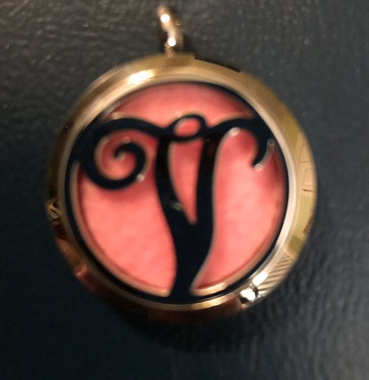 V - Initial Monogram ~ 30mm Stainless Steel Locket Diffuser - chain