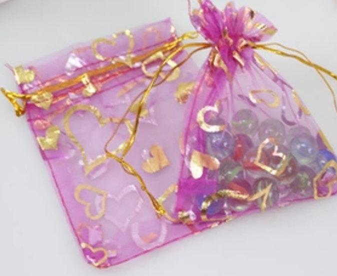 "100 ct Magenta  w/ Gold Heart Organza Bags  -- 3-1/2' X 4-1/2"""