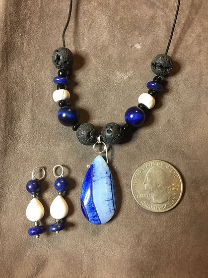 Blue / White Agate & Lava Bead Set
